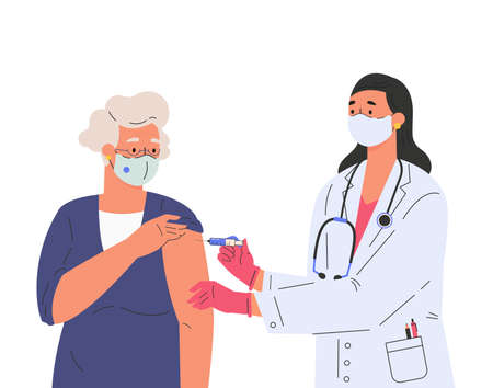 A female doctor makes a vaccine to old patient. Concept illustration for immunity health.  Doctor in gloves and protective mask. Flat illustration isolated on white background.