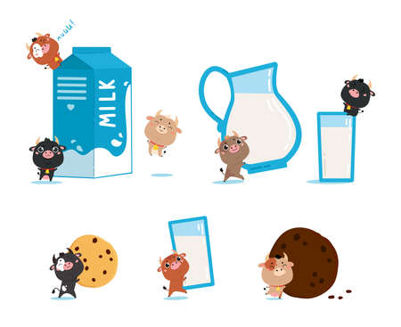 Farm cows and ox with glass of milk, jug and cookies. Cute cartoon animals on white background. Vector Illustration for printing on products and packaging containing milk in simple style.