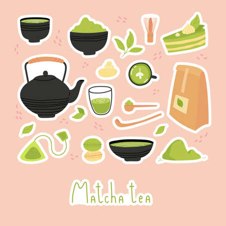 Green matcha tea. Set of Matcha healthy drink stickers. Various tea products. Japanese tea culture. Hand drawn vector colored trendy illustration.