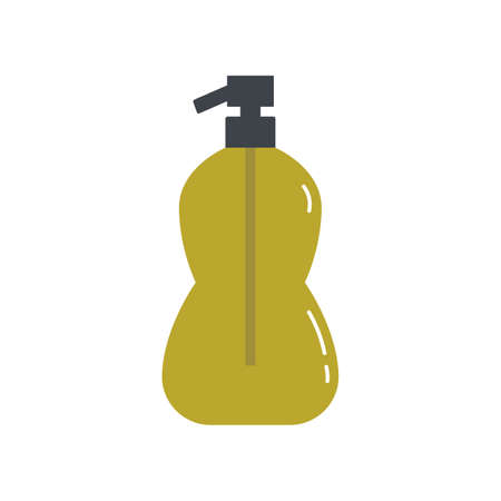 liquid soap for disinfection of hands. Soap in a plastic bottle with a dispenser. Personal hygiene. flat vector illustration on white background.