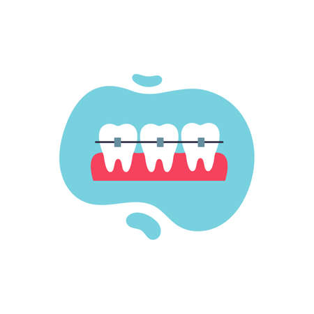 Teeth braces icon. Dental care. Vector cartoon illustration isolated on white background.