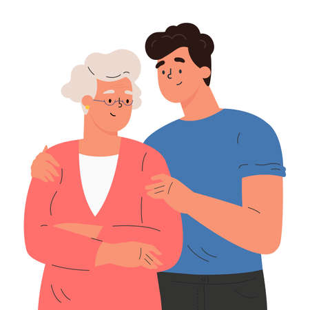 Happy adult son hugging old mother feeling love to each other. Portrait of young man hugging his grandma. Friendly family relationship. Cartoon vector flat illustration on white background. Ilustração