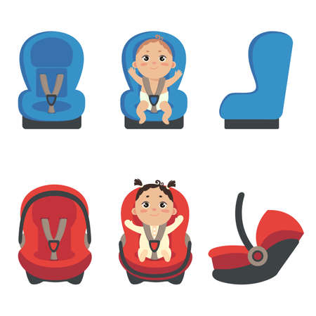 Baby girl and boy sitting in automobile seat. Set of car chair for baby from different angles. Side and front view of carseat. Vector illustration on white background.