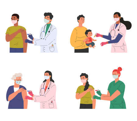 Set of different doctors and patients who came for vaccination. Concept illustration for immunity health. Adults and children at the doctors office. Flat illustration isolated on white background.