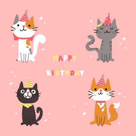 Set of different cartoon cats. Happy Birthday lettering. Lovely kittens sitting together. Hand drawn pets in festive caps. Greeting card. Vector flat cartoon illustration. Ilustração