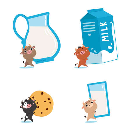 Set of farm cows and ox with glass, jug, cookies and pack of milk. Cute cartoon animals on white background. Vector Illustration for printing on products and packaging containing milk in simple style.