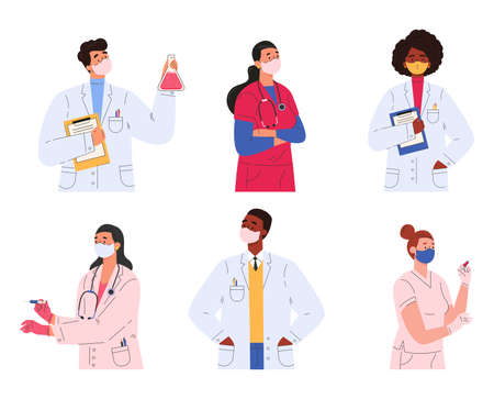 Different doctors, nurses and scientists. Set of people in medical clothes. Women and men in masks hold syringes, prescriptions for treatment. Flat illustration isolated on white background.
