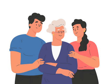 Happy adult children hugging old mother feeling love to each other. Portrait of young people hugging their grandma. Friendly family relationship. Cartoon vector flat illustration on white background.