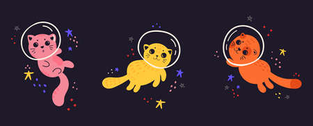 Kids cute illustration with cat in space. Space background. Set of animal astronauts on starry sky background. Print for T-shirts, textiles, web. Cat in a spacesuit. Flat vector illustration. Ilustração