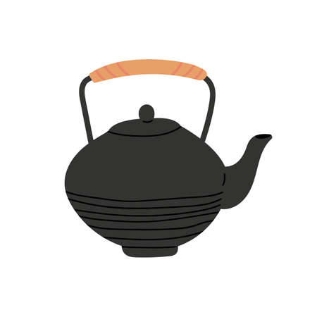 Kitchen teapot. Cartoon hygge pot from clay. Flat style vector illustration on white background.