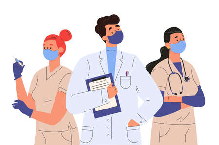 Doctors and nurses characters in medical face mask. Medical team, professional hospital workers, group of medics. Set of people in medical clothes. Flat illustration isolated on white background.