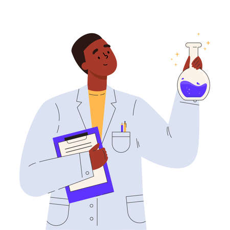 Vaccine discovery concept. Scientists doctor with flasks and folder working on antiviral treatment development. Young male doctor in a medical gown. Vector illustration in flat cartoon style.