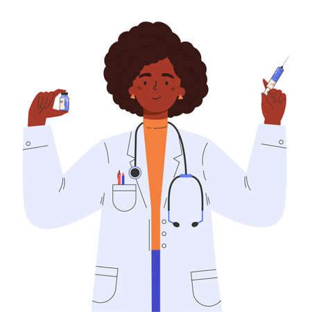 Vaccine discovery concept. Scientists doctor with test tube and syringe. Young female african american doctor in a medical gown. Vector illustration in flat cartoon style.
