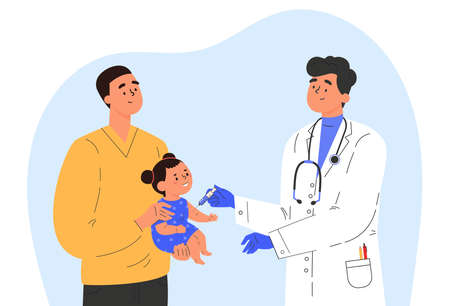 Male doctor makes a vaccine to a child. Concept illustration for immunity health. Father with baby in hospital. Doctor in a medical gown and gloves. Flat illustration isolated on white background. Ilustração