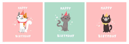 Set of greeting birthday cards. Cat in festive cap. Happy Birthday lettering. Lovely kitty. Hand drawn pet. Invitation.Vector flat cartoon illustration.