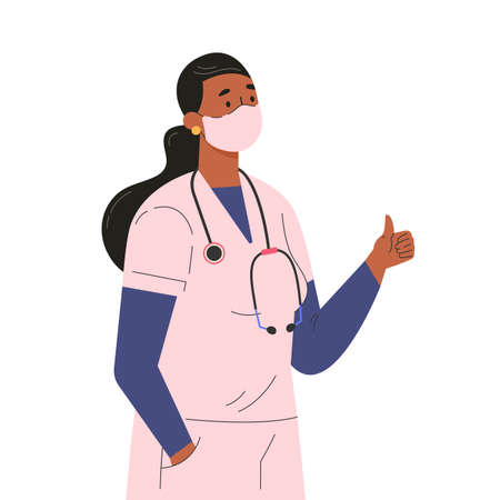 Female doctor character in medical face mask. Professional hospital worker, doctor with a stethoscope shows a like. Woman in medical clothes. Flat illustration isolated on white background.