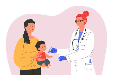 Female doctor makes a vaccine to a child. Concept illustration for immunity health. Woman with baby in hospital. Doctor in a medical gown and gloves. Flat illustration isolated on white background.