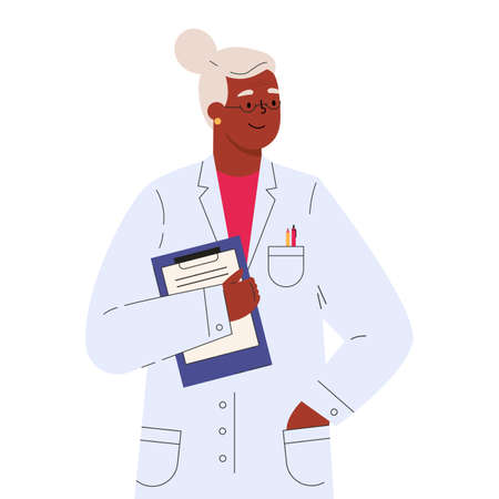 Old female doctor in a medical gown with folder. Vector illustration in flat cartoon style.