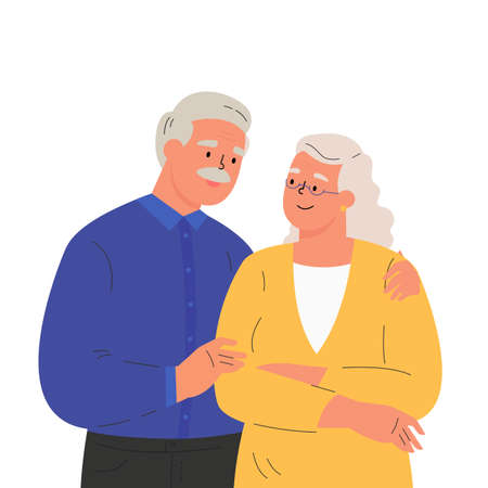 Happy elder man hugging his wife feeling love to each other. Portrait of old couple man and woman. Friendly family relationship. Cartoon vector flat illustration on white background.