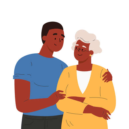 Happy adult son hugging old mother feeling love to each other. Portrait of young guy with grandma. Friendly family relationship. Cartoon vector flat illustration on white background.