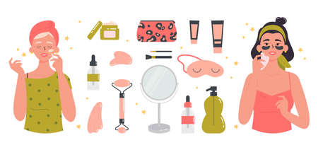 Women with facial gua sha stone. Beauty routine. Face and body skin care concept. Attractive girls with various cosmetics and accessories for beauty. Hand drawn trendy colored illustration.