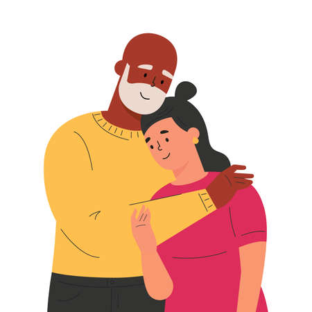 Happy adult daughter hugging old father feeling love to each other. Portrait of young woman hugging her grandpa. Friendly family relationship. Cartoon vector flat illustration on white background.