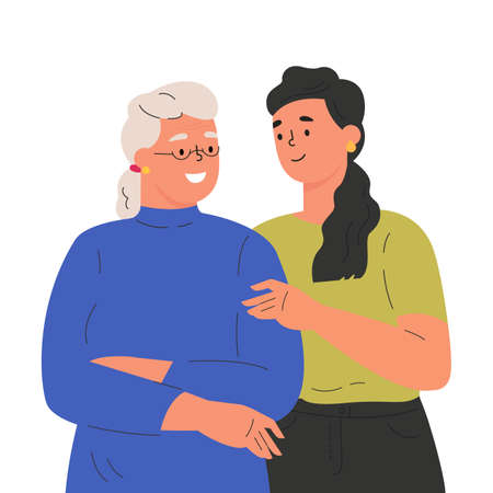 Happy adult daughter hugging old mother feeling love to each other. Portrait of young woman hugging her grandma. Friendly family relationship. Cartoon vector flat illustration on white background.