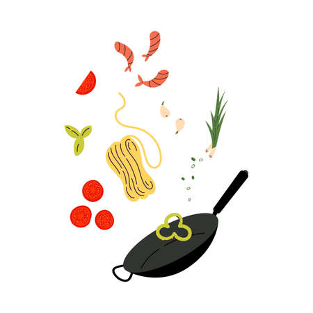 Wok pot. Asian street food. Noodles with traditional Ingredients. Cartoon style. Vector illustration. Isolated on white background. Design for menu, cafe and asian restaurant.