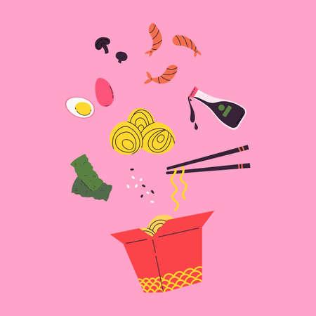 Asian food. Wok menu traditional Ingredients. Restaurant, cafe design element. Banner, flyer. Vector colorful Illustration in flat style. Noodles with traditional Ingredients in a box. Stock Illustratie