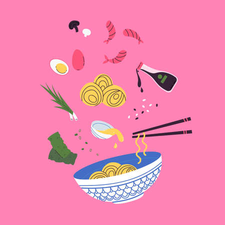 Asian food. Wok menu traditional Ingredients. Restaurant, cafe design element. Banner, flyer. Vector colorful Illustration in flat style. Noodles with traditional Ingredients.