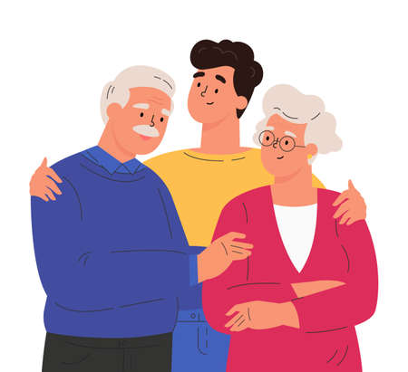 Portrait of happy family hugging each other. Adult man embracing mature parents or grandparents isolated on white background. Parents with child feeling love. Vector illustration in flat style. Ilustração