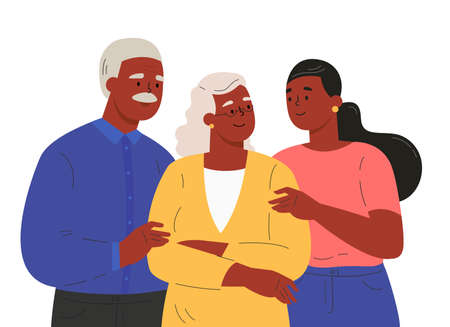 Portrait of happy family hugging each other. Adult woman embracing mature parents or grandparents isolated on white background. Old parents with child feeling love. Vector illustration in flat style. Ilustração