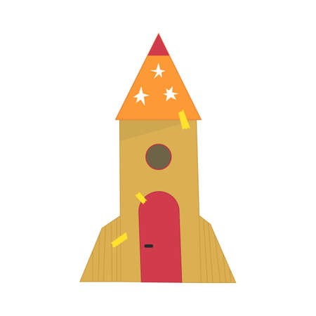 Hand made cardboard rocket. Entertainment for children. Rocket for games with children .Games with paper Space ship vector cartoon style illustration.