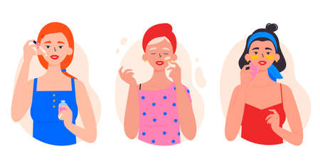 Beauty routine. Beautiful young ladies. Various spa procedures. Cleansing, moisturizing, treating. Face and body skin care. Girls with accessories for beauty. Hand drawn trendy colored illustration.