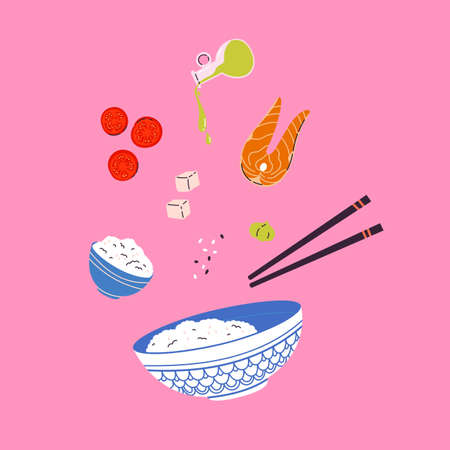 Asian food. Restaurant, cafe design element. Banner, flyer. Vector colorful Illustration in flat style. Salmon, oil, tofu, tomatoes, wasabi. Rice with traditional Ingredients in plate.
