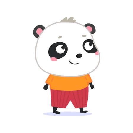 Cute panda vector icon. Animal in a cartoon style. Flat Illustration. Fanny Mascot. Ilustração