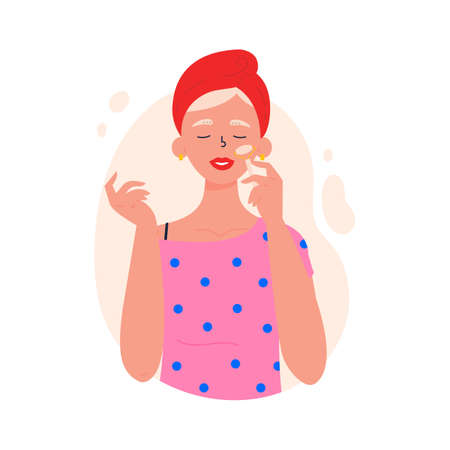 Beauty routine. Beautiful young lady. Gua sha spa procedure. Face anti aging skin care method. Hand drawn trendy vector illustration.