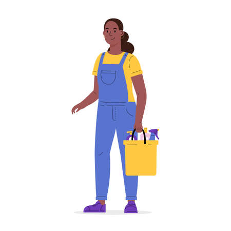 Young worker of cleaning service. A woman dressed in a uniform with a bucket of detergent. Housekeeping staff. Girl in overalls. Flat vector cartoon illustration isolated on white background
