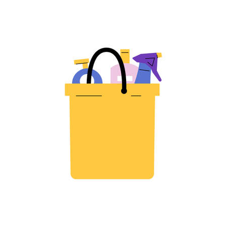 House cleaning bucket with detergents. Modern flat and colorful design isolated on white background. Housekeeping concept. Vector illustration.