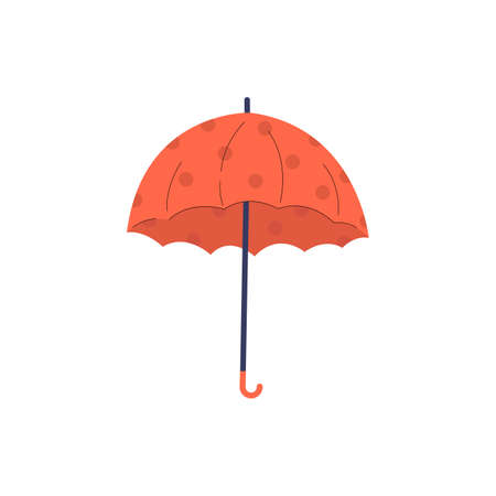 Orange umbrella with polka dots icon. Vector flat illustration. Accessory with handle protection from rain isolated on white background.
