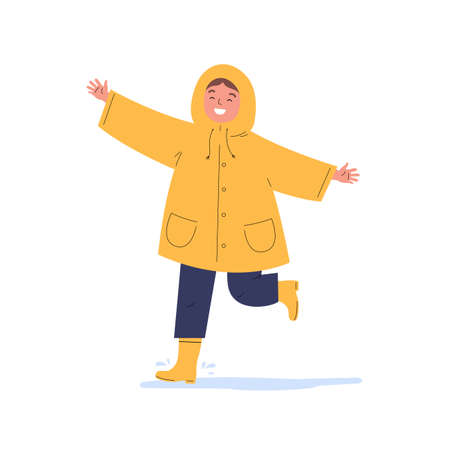 The child runs in the rain. Happy kid in a yellow raincoat during rain. Flat vector cartoon illustration isolated on white background. Ilustração
