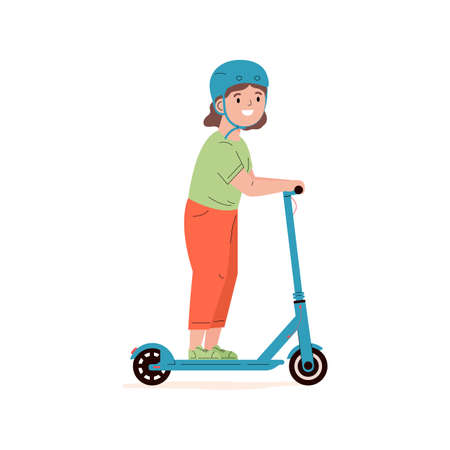 Happy little girl in a helmet riding electric walk scooter. Modern child character driving eco urban transport. Active sports and walks. Colored flat vector illustration isolated on white background.