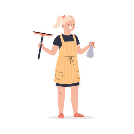 Teenager girl dressed in an apron with wiper. The girl helps with the household. The child washes windows. Flat vector cartoon illustration isolated on white background