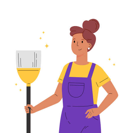 Young worker of cleaning service. A woman dressed in a uniform with a broom. Housekeeping staff. Girl in overalls. Flat vector cartoon illustration isolated on white background Ilustração