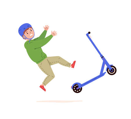 Child falling down from kick scooter. Little boy in a helmet falls to the ground after scooter accident. Health risk. Vector cartoon flat illustration