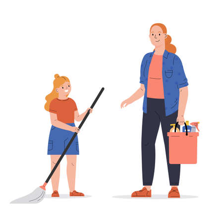 Concept of a happy family, housekeeping, child, parent. Young woman with her daughter wash the floor, clean up. Mom teaches child to clean.Flat vector cartoon illustration isolated on white background