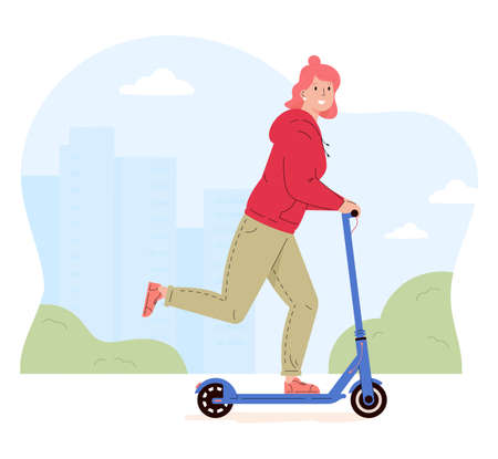 Active young woman riding electric walk scooter. Female character driving eco urban transport in the city. Active lifestyle concept. Colored flat vector illustration isolated on white background. Ilustração