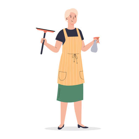 A woman dressed in an apron with wiper. Housekeeping activity. Woman with window cleaners. Flat vector cartoon illustration isolated on white background