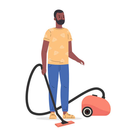 Young man holding electric vacuum cleaner pipe in his hands ready for house cleaning. Man cleans the floor at home. Housekeeping activity. Cartoon vector flat style illustration. Ilustração