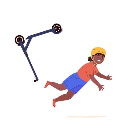 Child falling down from kick scooter. Little girl in a helmet falls to the ground after scooter accident. Health risk. Vector cartoon flat illustration Ilustração